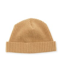 Neiman Marcus Cashmere Ribbed Knit Beanie Camel
