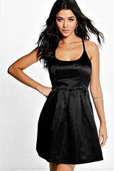 Boohoo Strappy Sateen Prom Dress Black