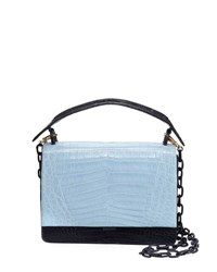 Nancy Gonzalez Bicolor Crocodile Flap Top Bag Blue Pattern