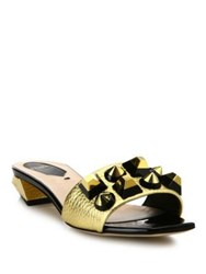 Fendi Studded Metallic Leather Slides Black Gold