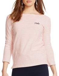 Polo Ralph Lauren Striped Cotton Boatneck Tee Red