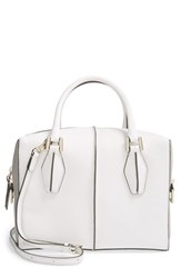 Tod's 'Small D Cube' Bauletto Satchel White White Grey