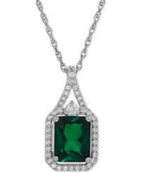 Macy's Lab Created Emerald 2 1 10 Ct. T.W. And White Sapphire 1 4 Ct. T.W. Pendant Necklace In Sterling Silver