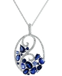 Effy Collection Sapphire 3 3 4 Ct. T.W. And Diamond 1 3 Ct. T.W. Pendant Necklace 14K White Gold