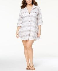 Dotti Plus Size Havana Stripe Cotton Shirtdress Cover Up Swimsuit Grey