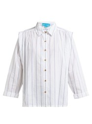 Mih Jeans M.I.H Arley Jacquard Striped Pleated Shoulder Shirt White