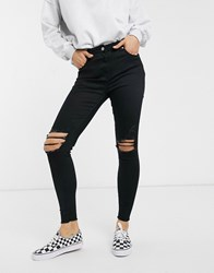 Parisian Skinny Jeans With Distressed Knee Rips Black
