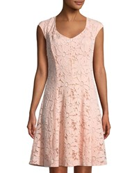 Chetta B Cap Sleeve Lace A Line Dress Blush