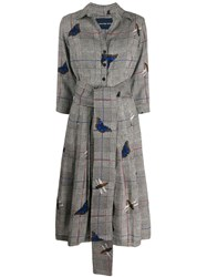 Samantha Sung Prince Of Wales Butterfly Print Dress Grey