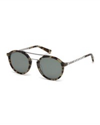 Ermenegildo Zegna Acetate And Titanium Double Bar Round Sunglasses Vintage Tortoiseshell