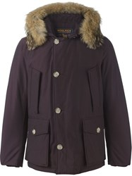 Woolrich Coyote Fur Trim Padded Parka Pink And Purple