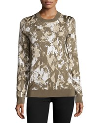 Jason Wu Long Sleeve Printed Pullover Army Beige Chalk Women's