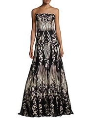 David Meister Strapless Embroidered Ball Gown Black Multi