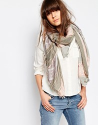 Pieces Pink And Grey Striped Print Scarf Pink Grey Multi