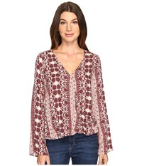 Brigitte Bailey Tamsyn Printed Overlap Long Sleeve Top Burgundy Women's Clothing