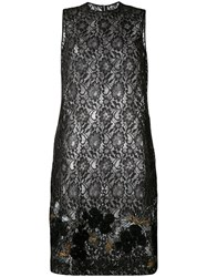 Comme Des Garcons Tricot Sheer Lace Shift Dress Women Polyester Rayon S Black