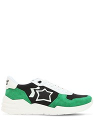 Atlantic Stars Mars Suede And Nylon Running Sneakers White Green