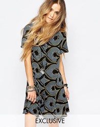 Reclaimed Vintage Button Front Tea Dress In Diamond Print Blackblue