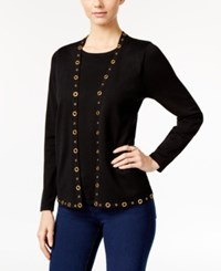 Ny Collection Petite Grommet Layered Look Sweater Viviana