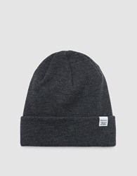 Norse Projects Top Beanie In Charcoal Melange