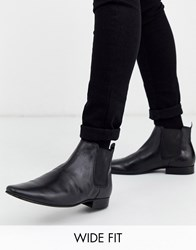 Kg By Kurt Geiger Wide Fit Leather Chelsea Boot In Black