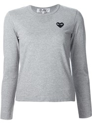 Comme Des Garcons Play Chest Patch Longsleeved T Shirt Grey