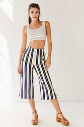Urban Outfitters Sloane Cropped Wide Leg Pant Blue Multi