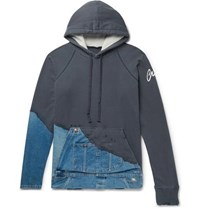 Greg Lauren Panelled Distressed Loopback Cotton Jersey And Denim Hoodie Navy
