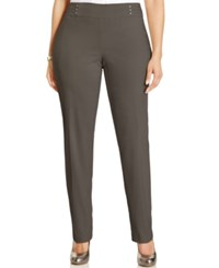Jm Collection Plus Size Tummy Control Pull On Slim Leg Pants Brown Clay