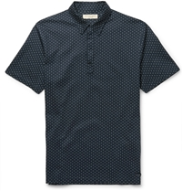 Burberry Polka Dot Cotton Pique Polo Shirt Blue