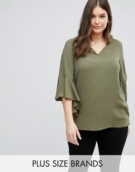 Lovedrobe V Neck Cowl Back Blouse Khaki Green
