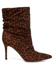 Gianvito Rossi Cecile 85 Leopard Print Suede Ankle Boots Leopard