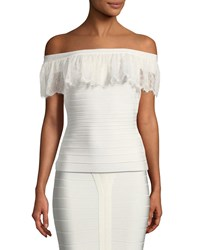 Herve Leger Off The Shoulder Lace And Bandage Top White