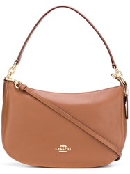 Coach Zipped Logo Shoulder Bag Brown 31b3ddd8f12ad