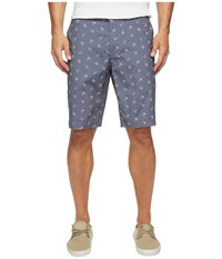Dockers Perfect Short Classic Fit Flat Front Anchor Good Vintage Indigo Print Men's Shorts Gray