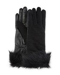 Ugg Knit And Leather Gloves W Fur Cuffs Black