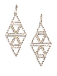 Abs By Allen Schwartz Diamond Shaped Pave Drop Earrings Gold