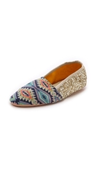 Anniel Soft Slippers Blue Aztec Gold Glitter