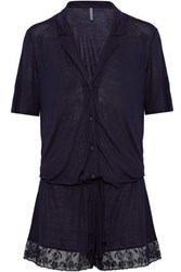 Elle Macpherson Lace Trimmed Stretch Jersey Playsuit Midnight Blue