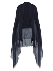 Bless Cashmere Overlay Cotton Cardigan Dark Blue
