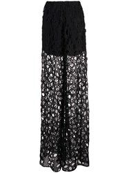 Vera Wang Embroidered Palazzo Pants Black