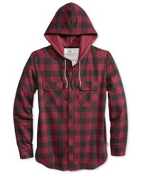 Univibe Men's Plaid Long Sleeve Hoodie Shirt Burgundy