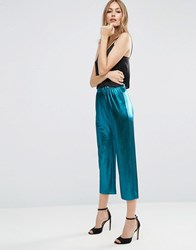 Asos Metallic Pleated Plisse Wide Leg Cropped Trousers With Raw Hem Blue