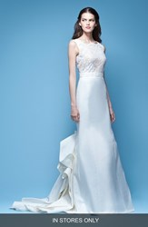 Women's Carolina Herrera 'Josette' Sleeveless Lace And Mikado Mermaid Gown With Origami Fold Train In Store Only