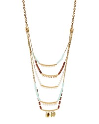Lydell Nyc Golden Five Row Mixed Media Necklace Women's