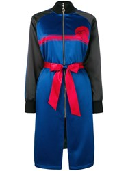 Opening Ceremony Colour Block Longline Bomber Coat Blue