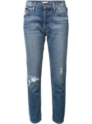 Mother Distressed Boyfriend Jeans Blue