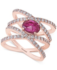 Effy Collection Effy Ruby 7 8 Ct. T.W. And Diamond 1 Ct. T.W. Ring In 14K Rose Gold