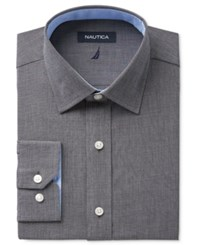 Nautica Men's Classic Fit Black Chambray Black Dress Shirt Black Solid