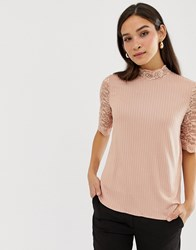 Y.A.S Lace Sleeve Ribbed Top Mahongony Rose Pink